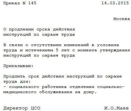 образец приказа на продление срока действия инструкций по охране труда - фото 3